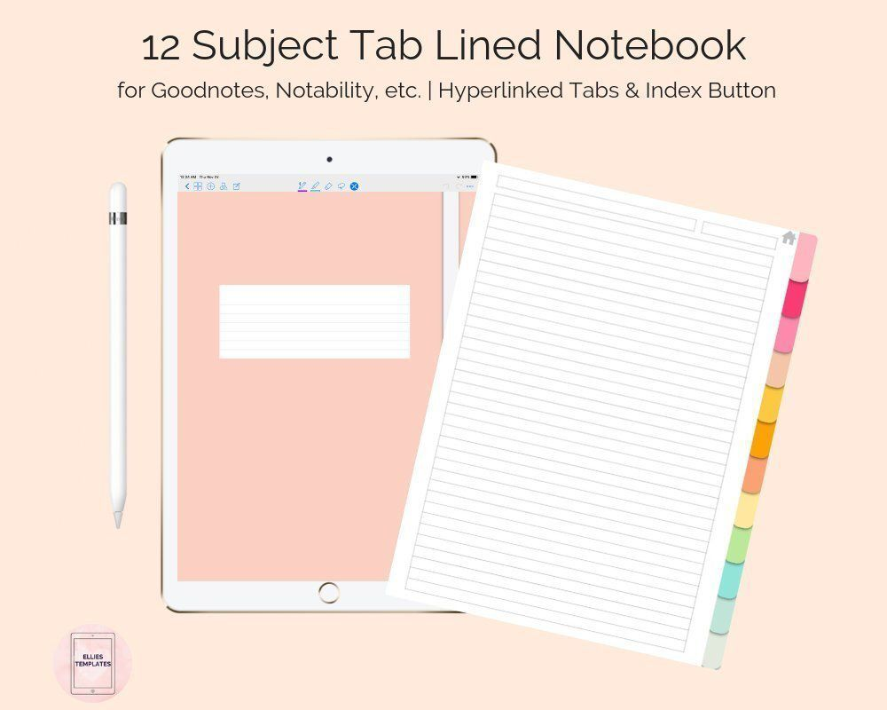 Digital 12 Subject Tab Lined Student Notebook Template