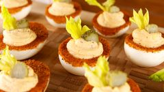 Bloody Mary Deviled Eggs = The Genius Party App You Never Knew You Needed #deviledeggs