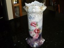 "GORGEOUS~VINTAGE~ANTIQUE *RS PRUSSIA* OPALESCENT~FLORAL~SCALLOPED VASE 9"" TALL"