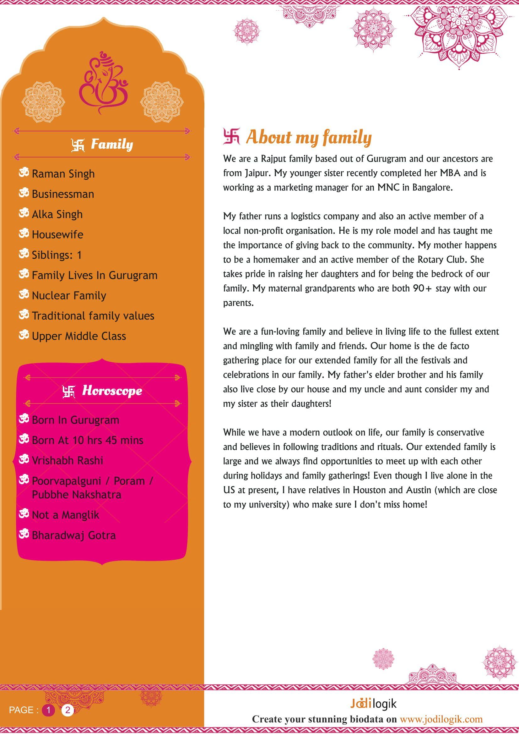 hindu matrimonial resume