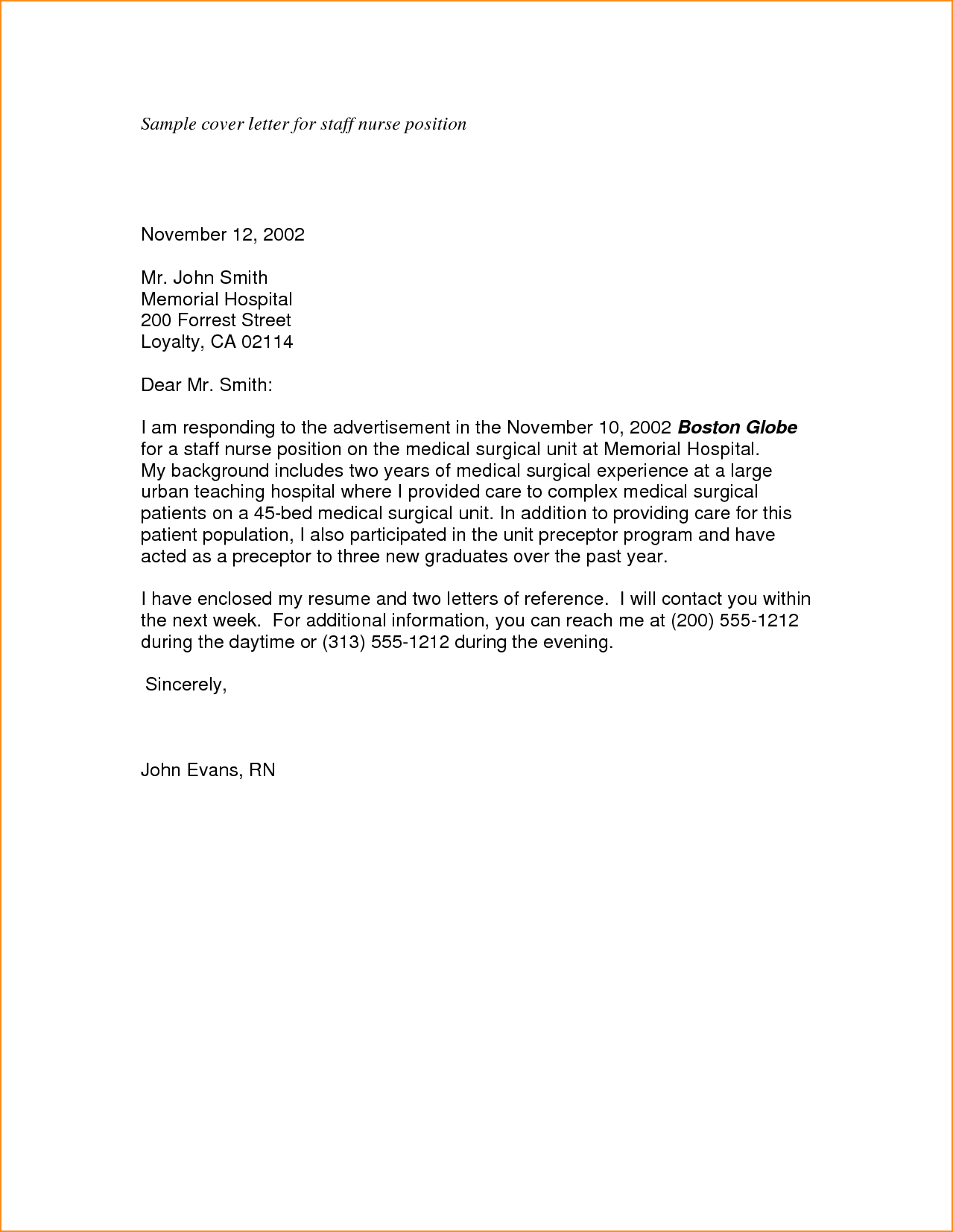 General Cover Letter For Resume Sample Cover Letter For Staff Nurse Position Job Wining Samples