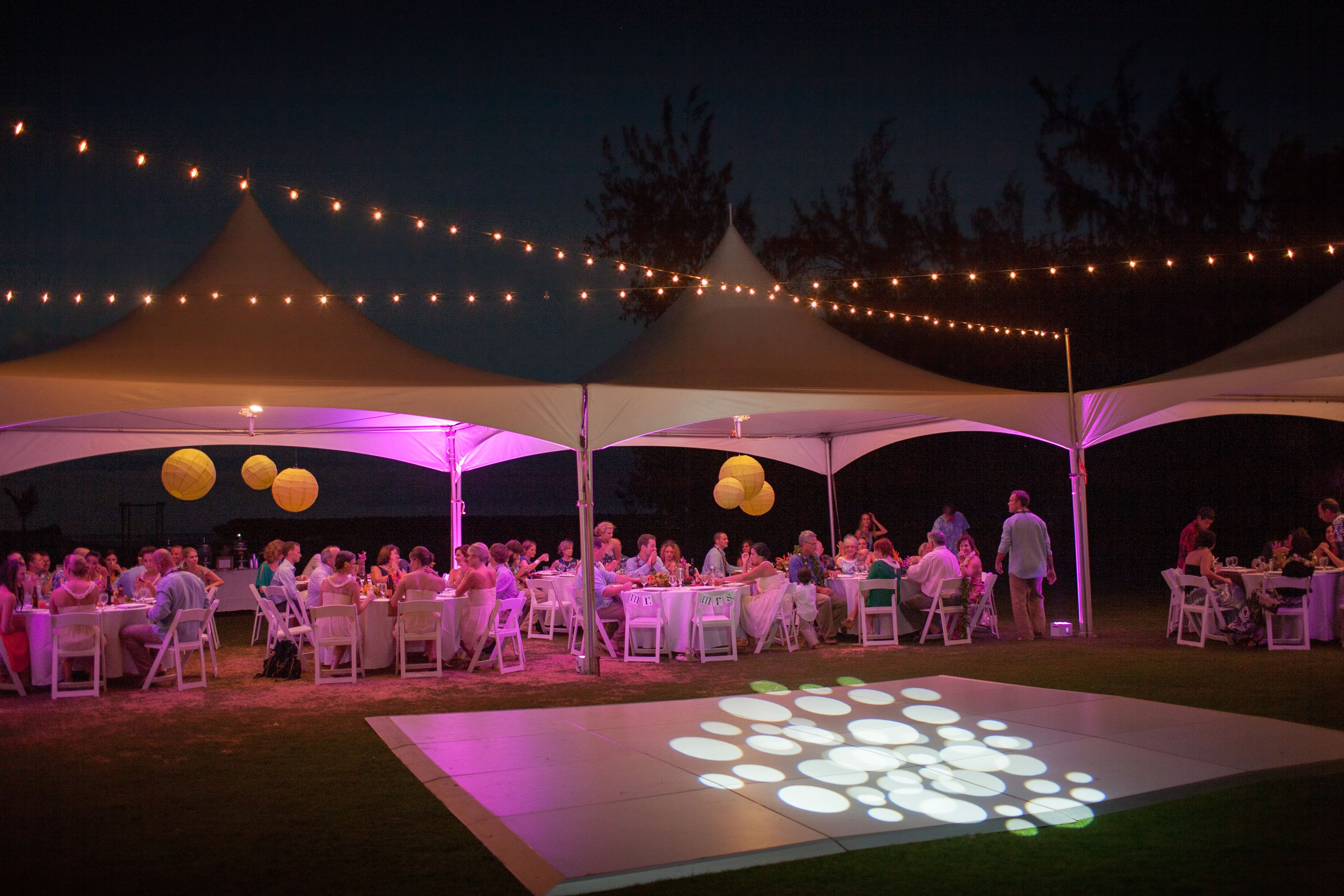 Two 10x20 White Top Tents With Cafe Lights Over 16x16