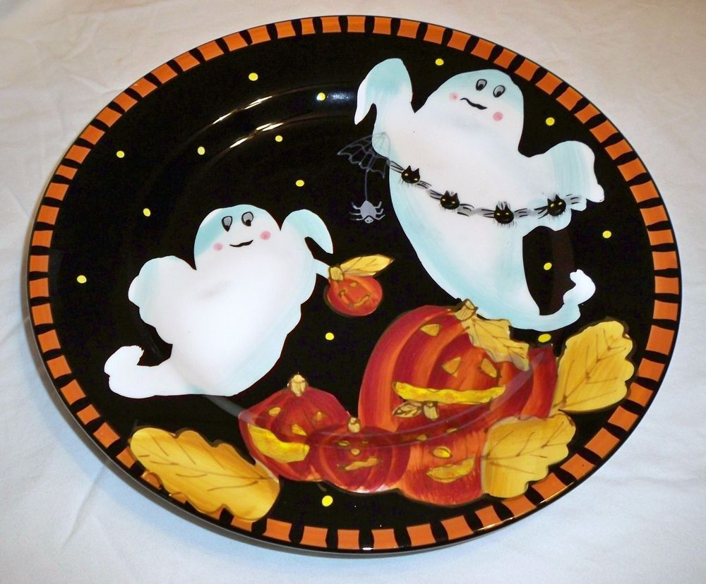 laurie gates ware ceramic halloween ghost pumpkin black orange plate tray dish - Halloween Plates Ceramic