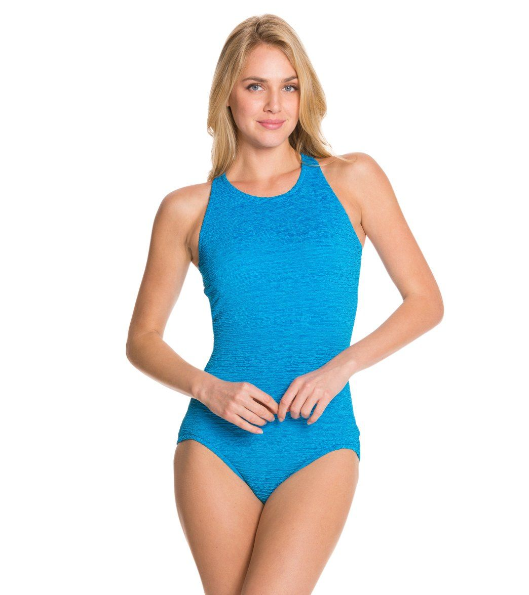 2dd44da1c8 Penbrooke Krinkle High Neck Chlorine Resistant One Piece Swimsuit ck with  both swim & sweat and swim outlet