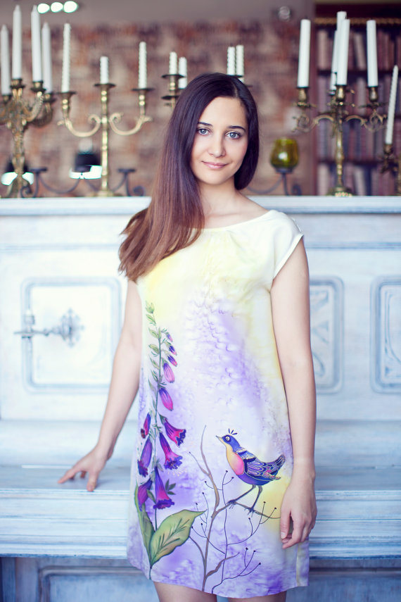 Summer silk dress. Hand painted silk dress. Bird by ArmeniaOnSilk, $165.00