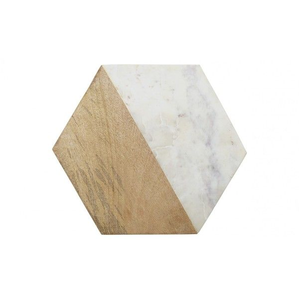Jayson Home Marble Wood Hexagon Board ($115) ❤ liked on Polyvore featuring home, kitchen & dining and jayson home