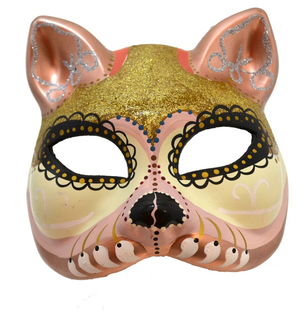 Day of the Dead White & Gold Cat Mask | Cats, Cat mask and The o'jays