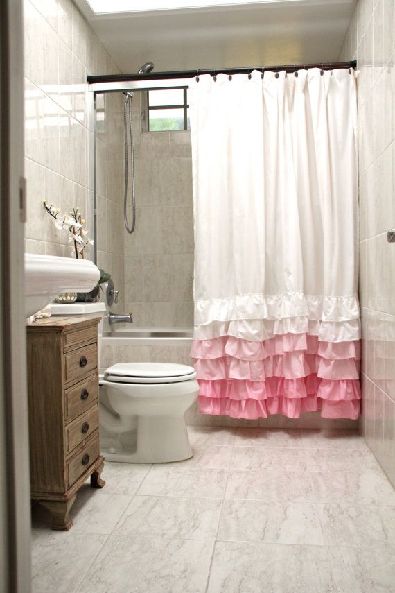 Ruffle bottom shower curtain. I\'m in love. $89 - easy to make ...