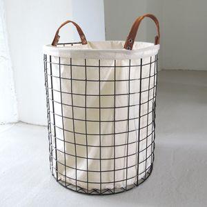 panier linge en m tal filaire par 2 doublure coton cru. Black Bedroom Furniture Sets. Home Design Ideas
