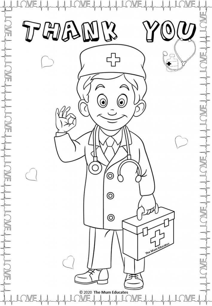 Thank You Doctors And Nurses Free Coloring Page Free Coloring Pages Thank You Cards From Kids Coloring Pages
