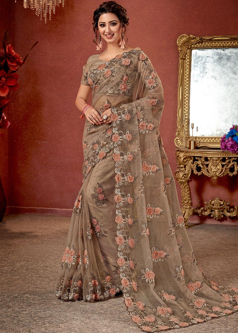 Beige Embellished Net Saree Saree Designs Saree Models Stylish
