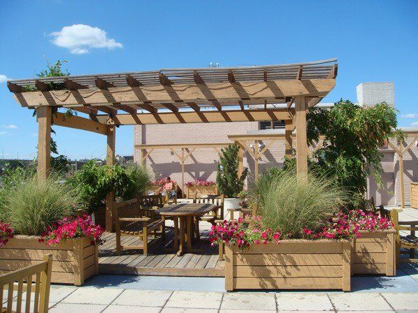 Rooftop Deck Design Ideas Wooden Pergola Planter Boxes Wooden Dining  Furniture Set