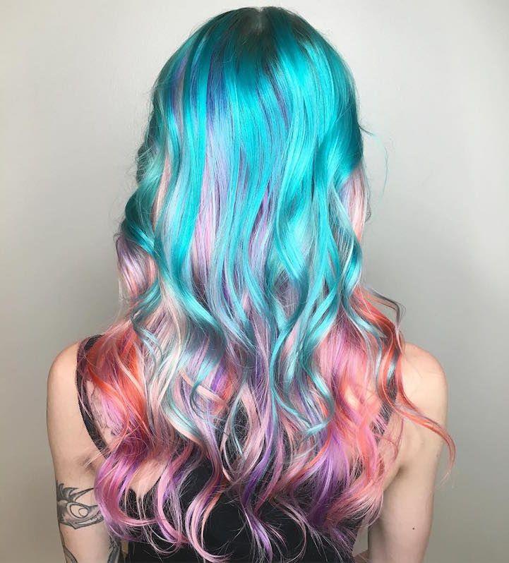 """Mermaid Hairstyles Mermaid Hair"""" Trend Has Women Dyeing Hair Into Seainspired Colors"""
