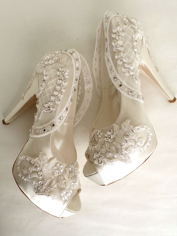 Bling Wedding Shoes Ivory Bridal Shoes With Rhinestones Wedding Shoes Lace Bling Wedding Shoes Bridal Boots