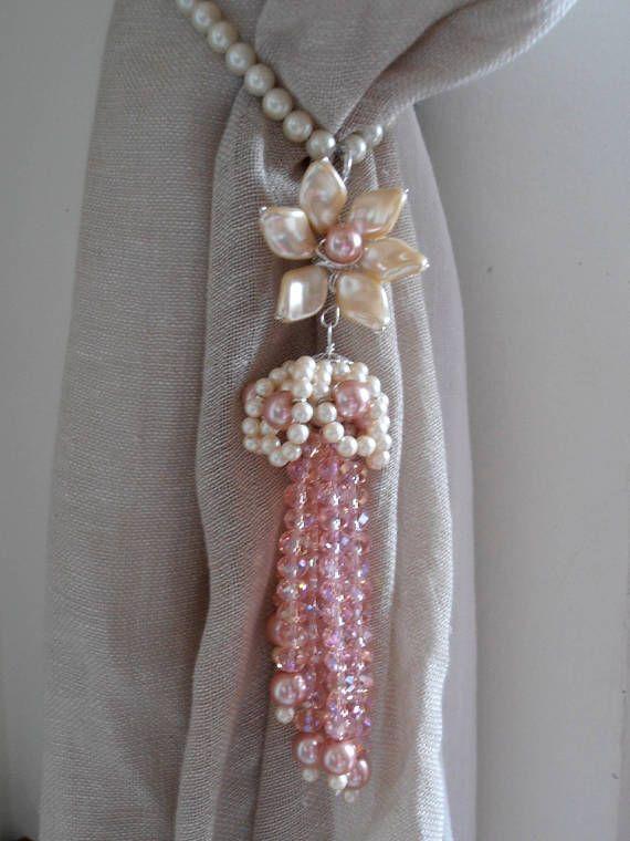 Fermatende Imitazione Perle E Cristalli Rosa Nappe Lovely