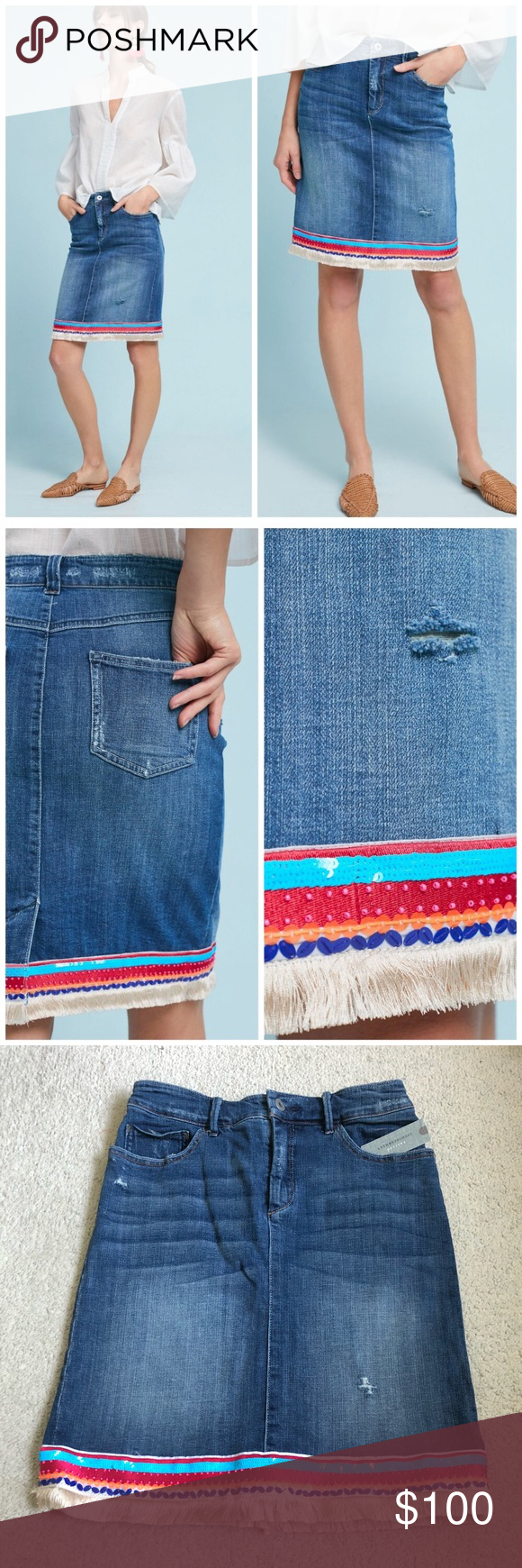 d892017229 Anthropologie Pilcro Beaded Trim Denim Skirt NWT 98% cotton, 2% spandex  Five-pocket styling Front zip Hand wash Imported Super adorable,  embellished hem ...