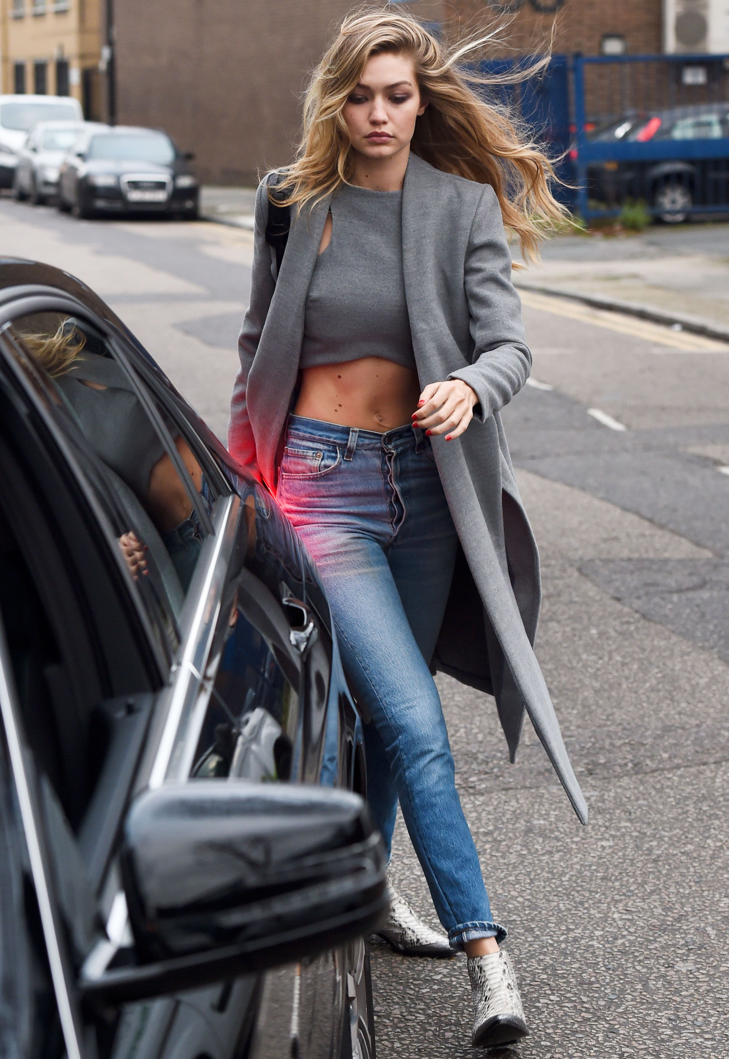 fashion / high wasted crop top paired wlth a gray cardigan and a ...