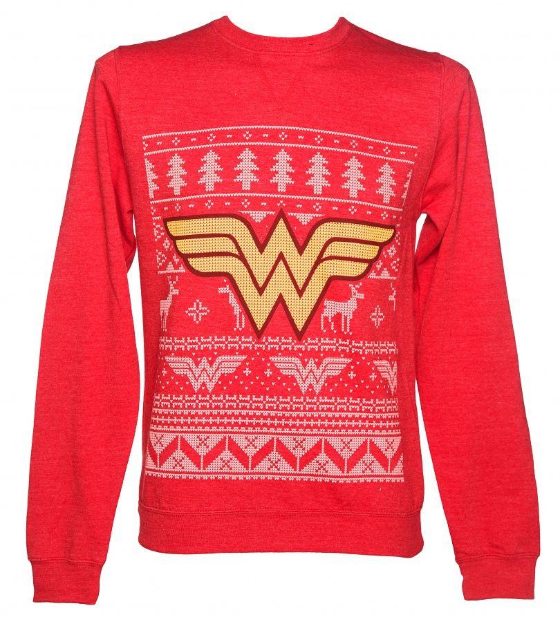 Unisex Red DC Comics Wonder Woman Fair Isle Christmas Sweater | My ...