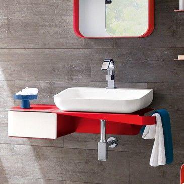 tulip sink console with drawer | modern bathroom decor