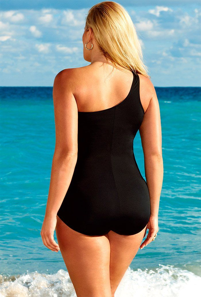 1bfd1d5a22b Swim Sexy Black Mesh Plus Size One Shoulder Swimsuit Plus Size Swimwear  Amazon Clothing