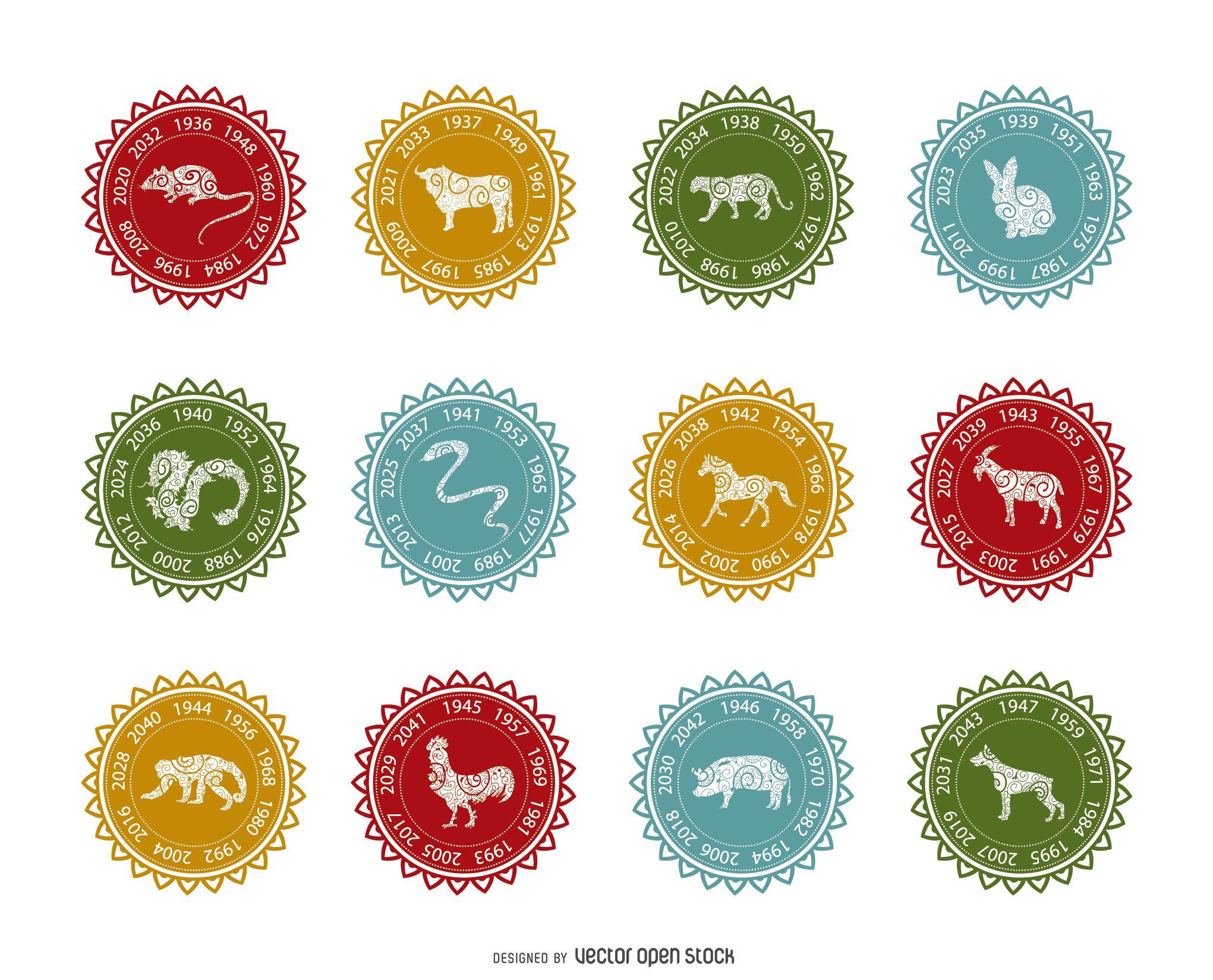 Chinese Zodiac Label Set Horoscopes And Zodiac Symbols Pinterest