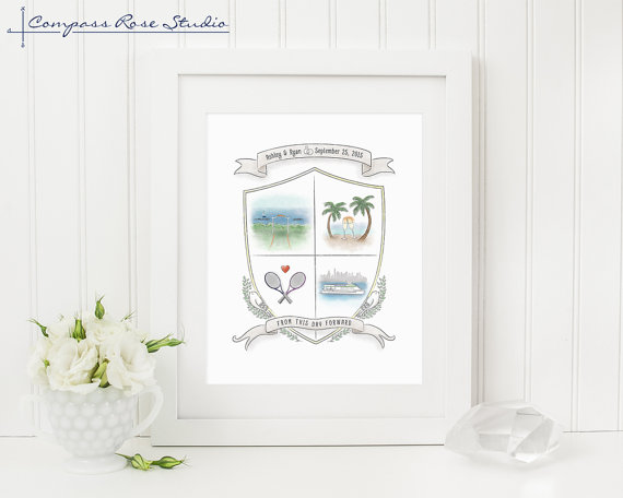 Personalized Wedding Gift, Custom Family Crest, Anniversary Gift, Custom Gift, Watercolor Wedding Crest, Wedding Illustration