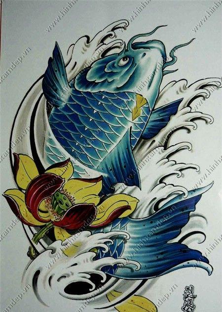 K t qu h nh nh cho h nh x m c ch p xam pinterest koi tattoo and japanese tattoos - Dessin carpe koi ...