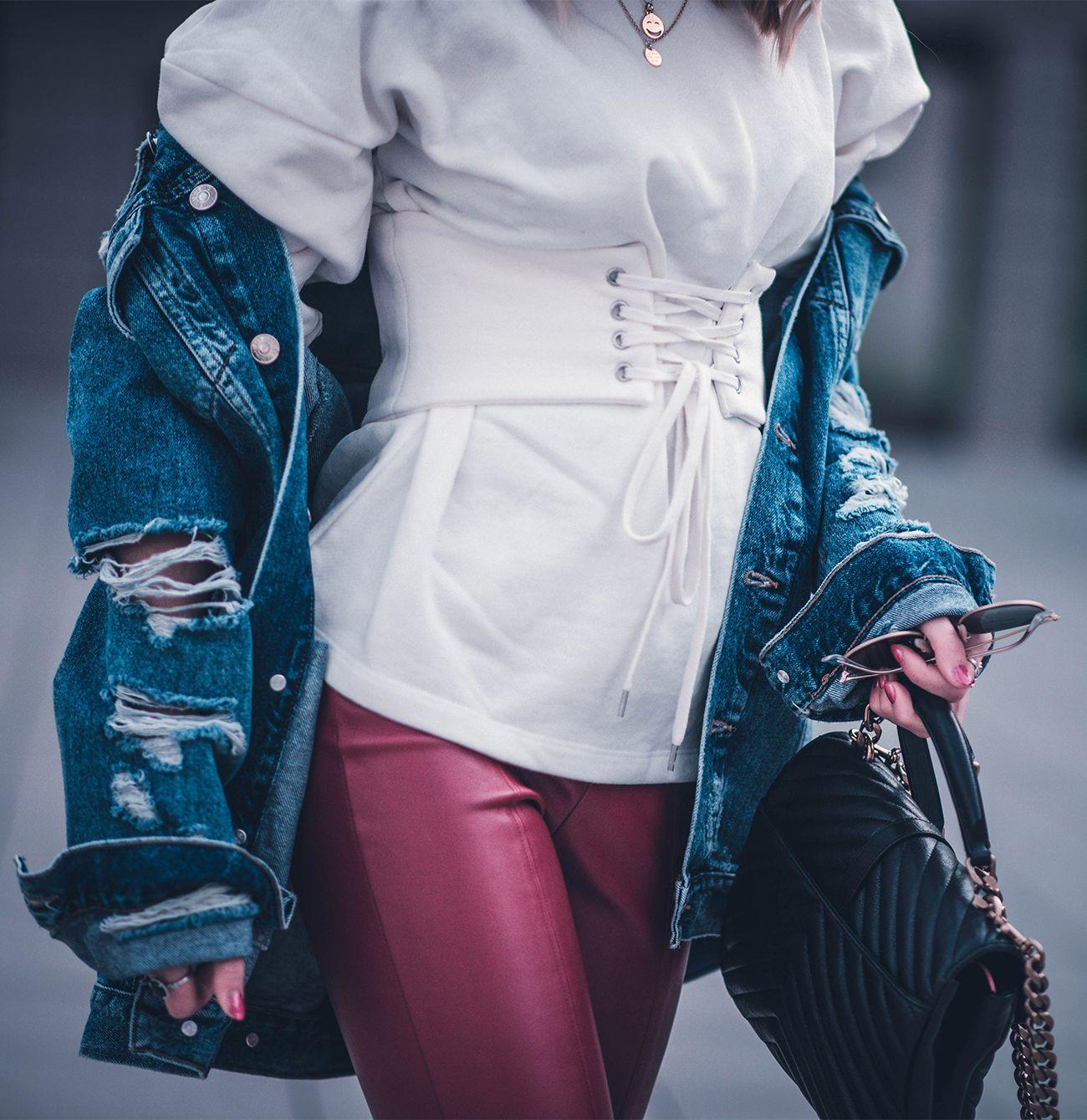 korsett pullover leggins rot ysl tasche  fashion blog münchen