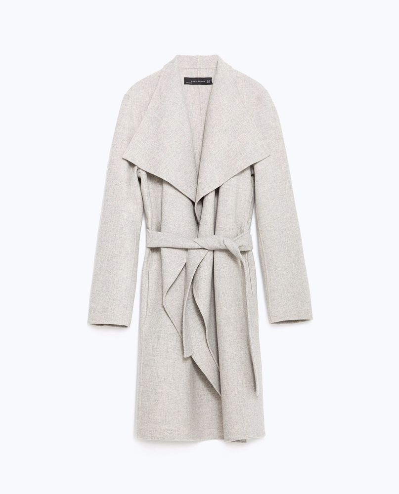 9582df0f3073 Details about Zara Light Grey Handmade Wrap Coat Bloggers Fave! L 12 ...
