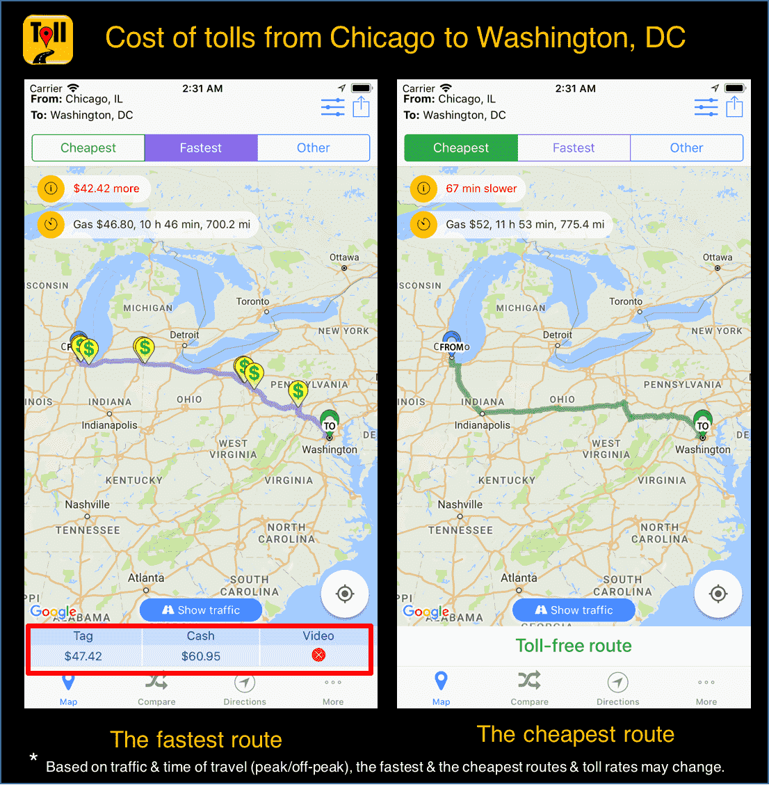 cost of tolls from chicago to washington dc use tollguru toll