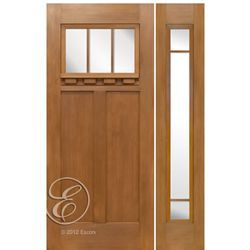 Escon Doors Ff623 1 1 Douglas Fir Grain Fiberglass Craftsman Style Entry Door With 3 Lite Glass Panel And Fiberglass Craftsman Doors Entry Doors Craftsman Door