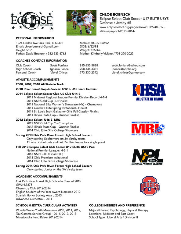Sample Soccer Player Resume College Soccer Resume Soccer Players