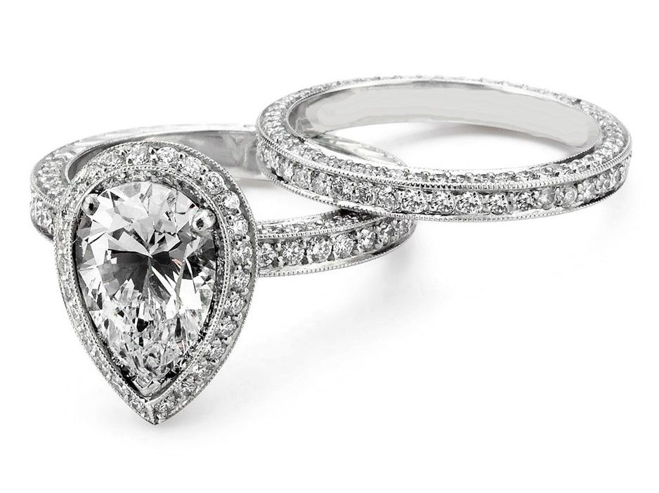 Pear Shape Halo Bridal set in White Gold Approx 2.00 Carats | Bling ...