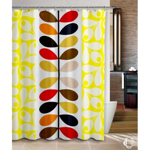 Orla Kiely Inspirate Patern Yellow Shower Curtain