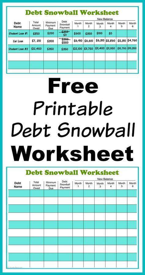 Free Printable Debt Snowball Worksheet- Pay Down Your Debt