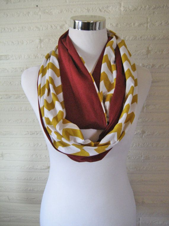 44007fec1ef Maroon and Gold Chevron colorblock Infinity Scarf - Jersey Knit ...