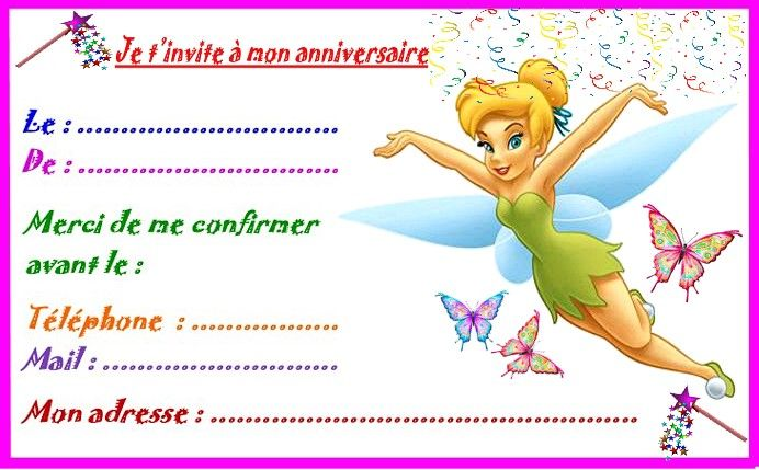 Fee Clochette Etiquettes Invitations Pour Anniversaire Modele Invitation Anniversaire Invitation Anniversaire Carte Invitation Anniversaire