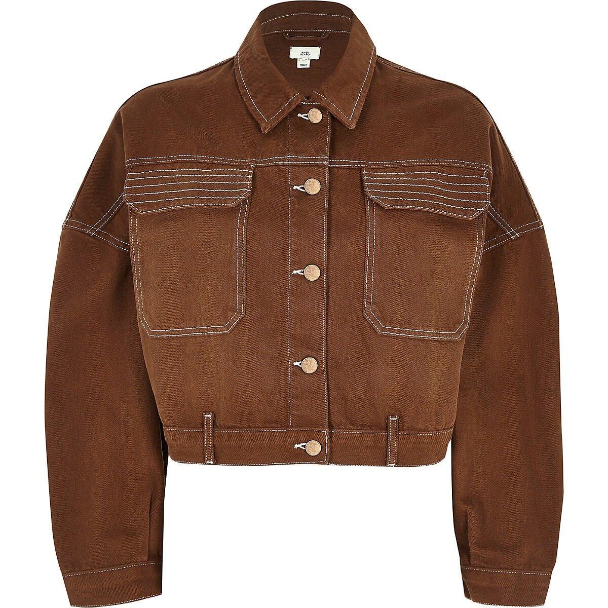 Brown Cropped Denim Jacket Jackets Winter Coats Women Cropped Denim Jacket [ jpg ]