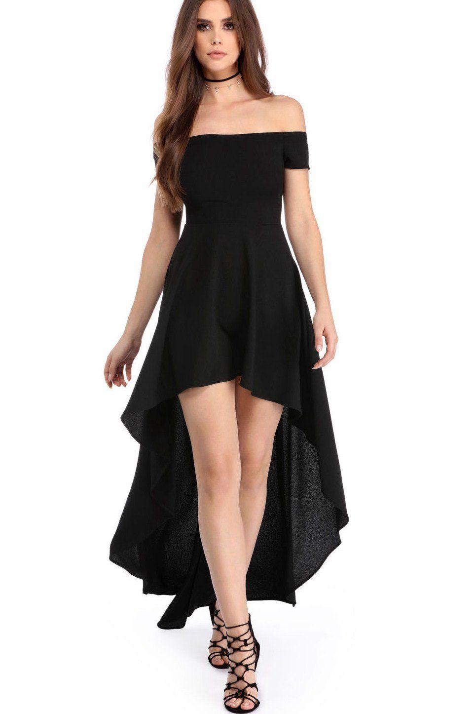 chic women's elegant black high low hem off shoulder party