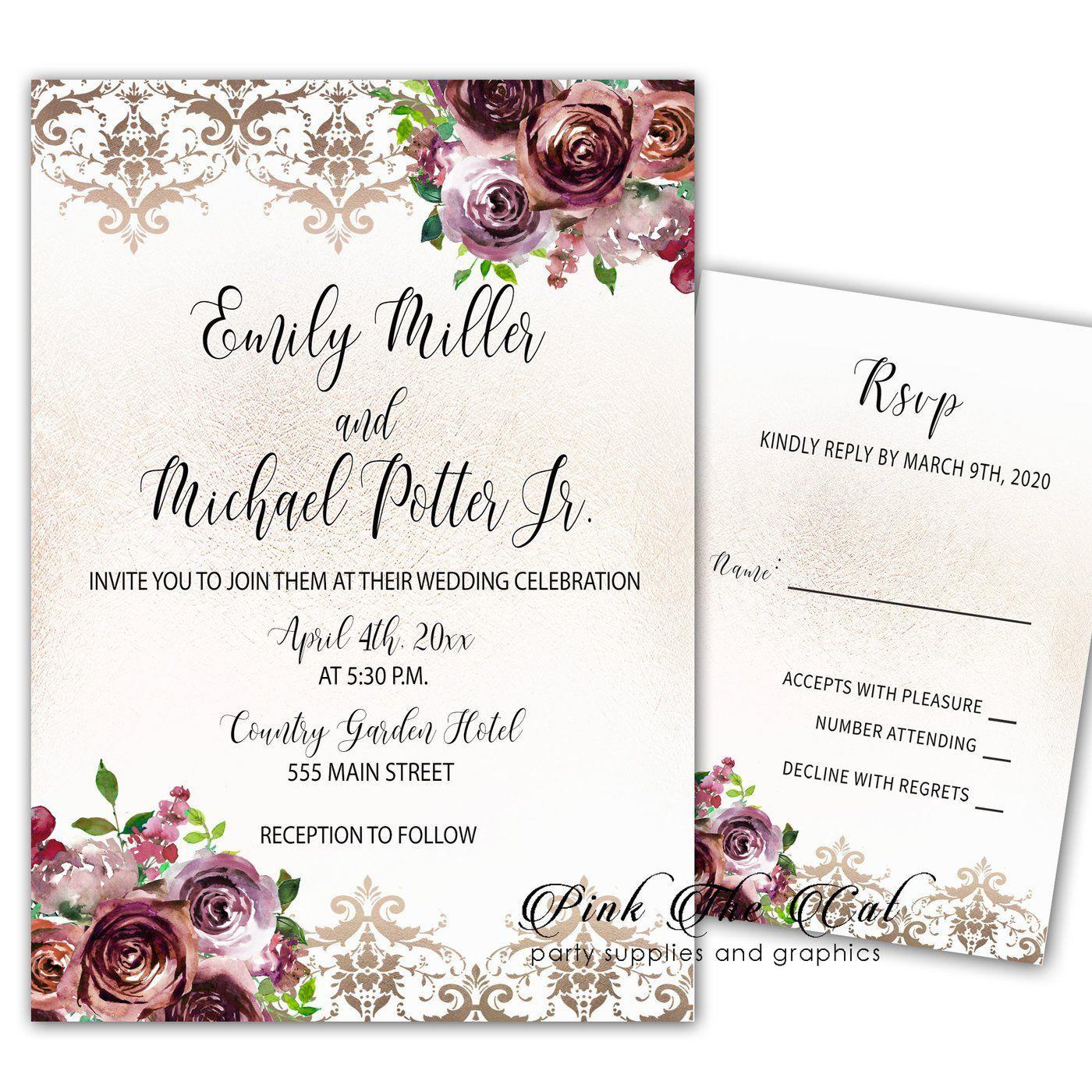 Wedding Invitations & RSVP Cards Burgundy Gold Printable