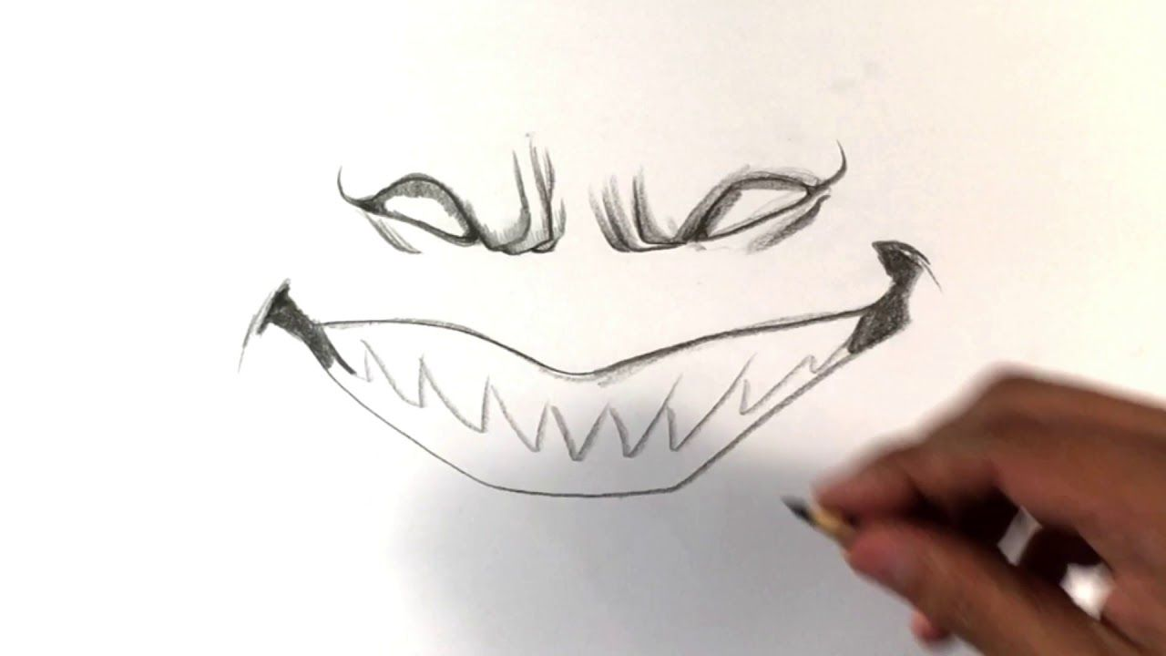 How To Draw Scary Smile Halloween Drawings Learntodrawnow