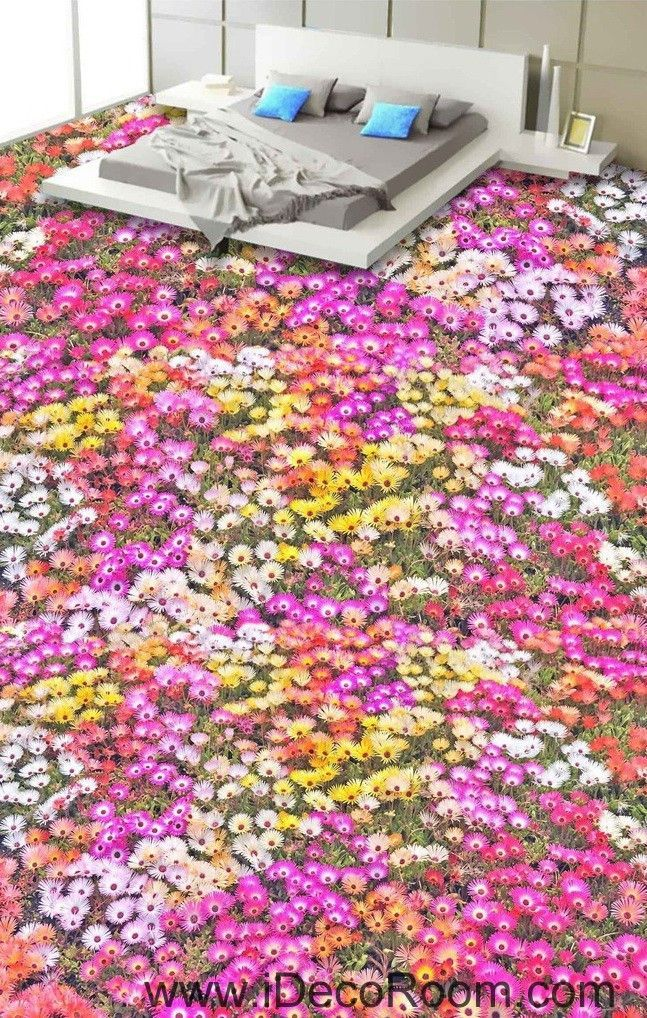 Pink Yellow White Daisy Flower 00027 Floor Decals 3D