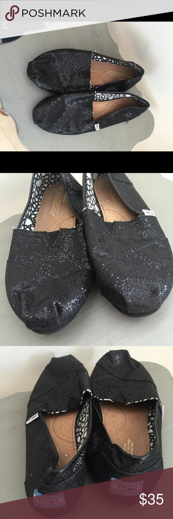 NWOT black glitter TOMS 10 NWOT black glitter shiny toms size 10 Toms Shoes  Flats &
