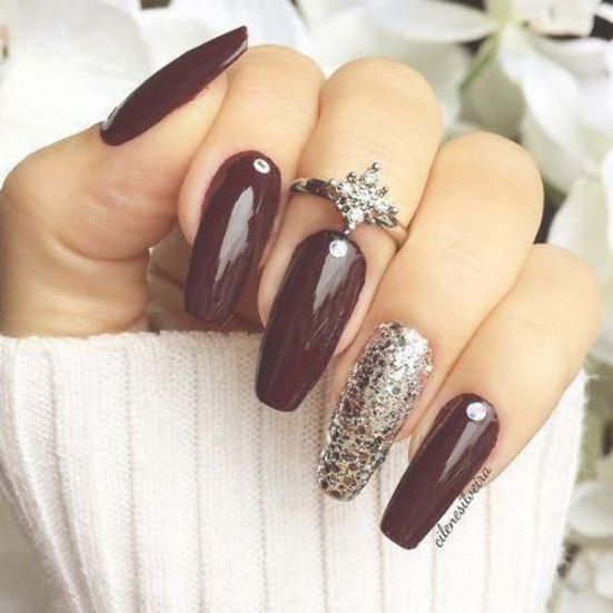 Oxblood Nails with Crystal + Glitter Nail, Knuckle Ring | Autumn nail art Ci ... - -