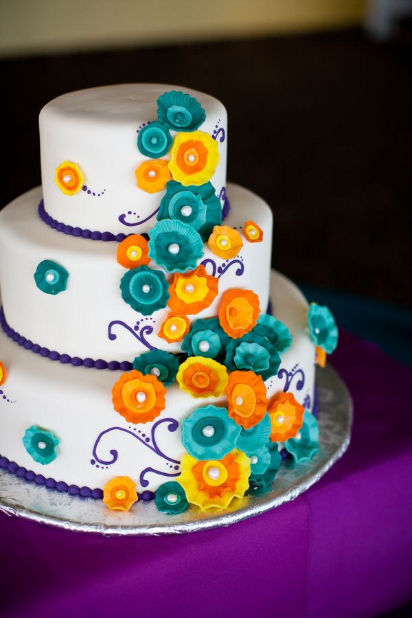 Purple Teal Orange Wedding Cake Side Note I Want The Darker