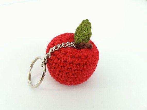 Mini Apple Key Ring or Bag Charm / Crochet Apple by LittleConkers, £5.00