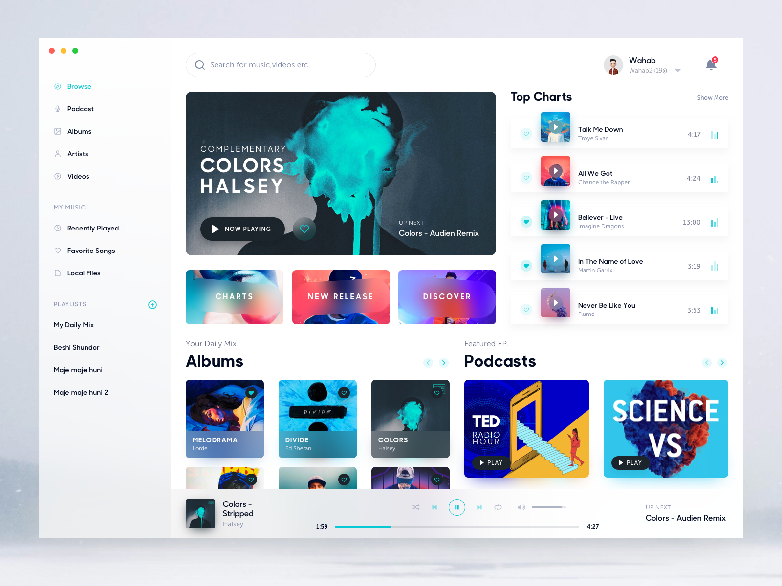 Music Player App for Mac | Desktop UI | App ui design, Dashboard