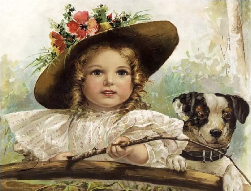 Victorian girl & jack russell fishing canvas dog art ...