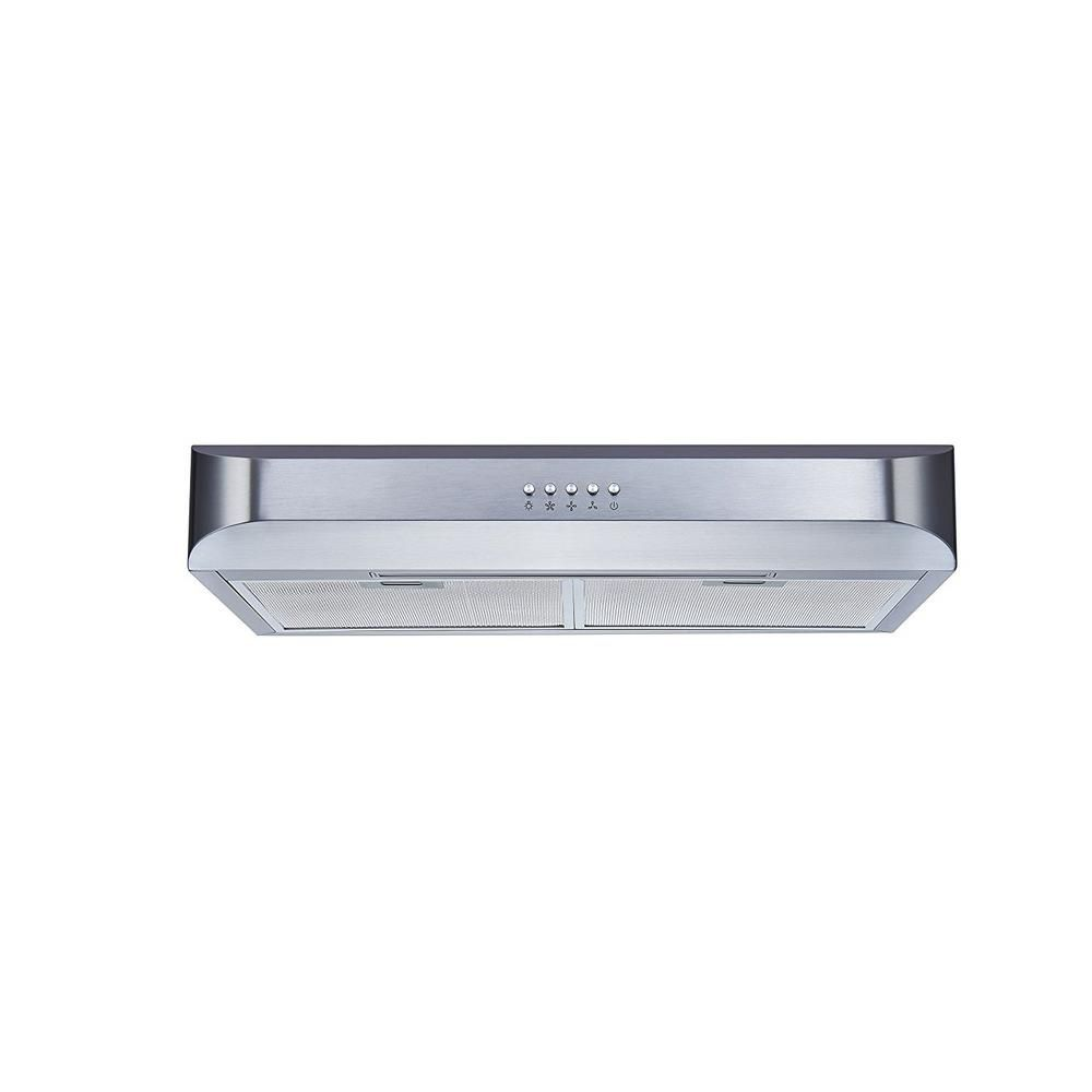 Winflo 30 In 350 Cfm Convertible Under Cabinet Range Hood In Stainless Steel With Push Button And Mesh Filters Ur010c30 The Home Depot Range Hood Under Cabinet Range Hoods Install Hardware