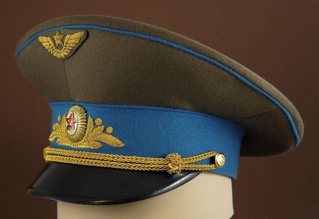 1980-1991 Soviet Air Force generals  service uniform visor cap ... 1208c5f477f